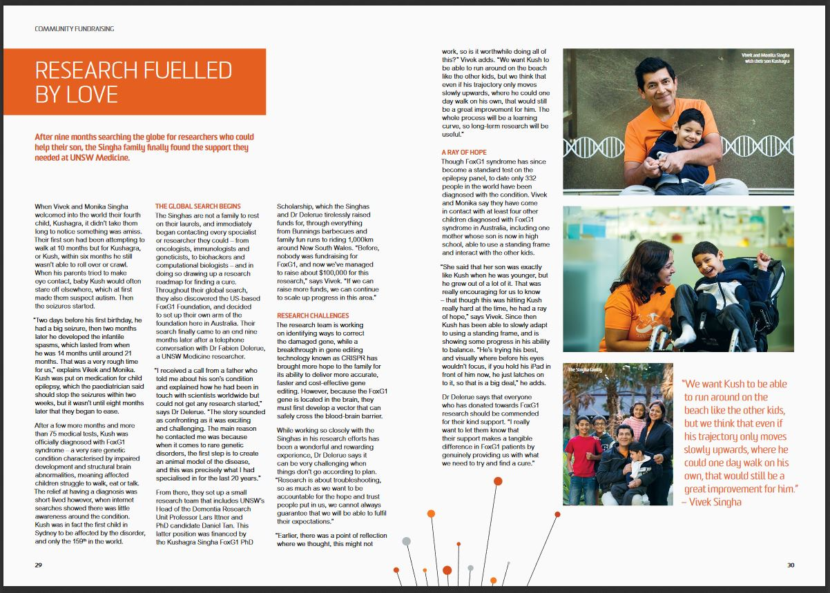 FoxG1 research covered in the 2017 UNSW Donor impact report (pp 29-30)