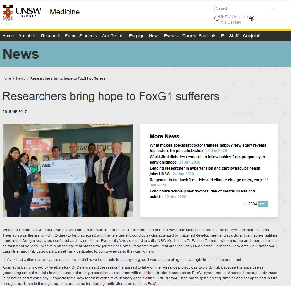FoxG1 research kickoff on the UNSW website